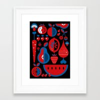 fruits Framed Art Prints featuring Fruits by Kingakong