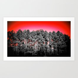 Gray Trees Candy Apple red Sky Art Print