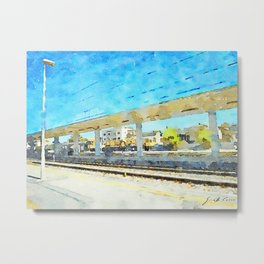 Travel by train from Teramo to Rome: station platform and shelter Metal Print