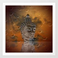 budha in sky Art Print
