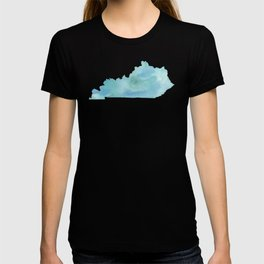 Watercolor State Map - Kentucky KY blue greens T-shirt