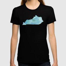 Watercolor State Map - Kentucky KY blue greens T-shirt
