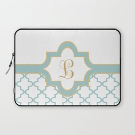 Moroccan Trellis Pattern with Name Plate and Monogram Laptop Sleeve