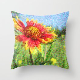 Red Flower in a Field Throw Pillow