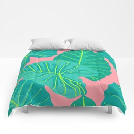 Giant Elephant Ear Leaves in Peachy Coral Comforters