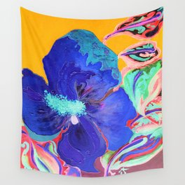 Birthday Acrylic Blue Orange Hibiscus Flower Painting with Red and Green Leaves Wall Tapestry