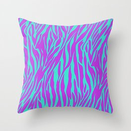Purple and Green Zebra print Throw Pillow