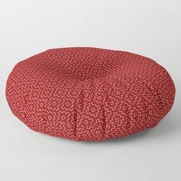 Persimmon Hitomezashi Sashiko - White on Red Floor Pillow