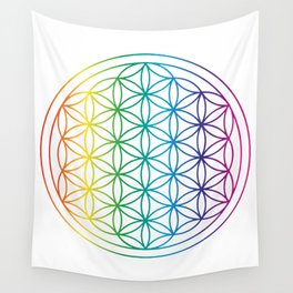 Flower Of Life Rainbow Sacred Geometry Wall Tapestry