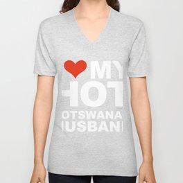 I Love My Hot Botswanan Husband Marriage Wife Botswana Unisex V-Neck