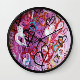 Little Hearts - Drawing Abstract Hearts Wall Clock