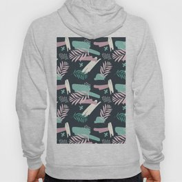 Abstract blue pink white teal brushstrokes floral Hoody