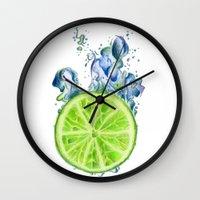 lemon Wall Clocks featuring Lemon by jausrine