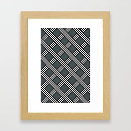 PPG Night Watch, Black & White Diagonal Stripes Lattice Pattern Framed Art Print