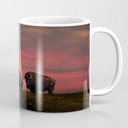 Two American Buffalo Bison at Sunset Coffee Mug