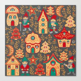 Fairy gnomes and magic houses.  Christmas trees, months and stars. Pattern in folk style. Canvas Print