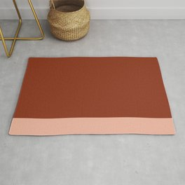 Rich Maroon Rust and Pale Salmon Color Block Rug