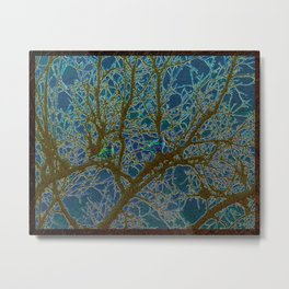 Jeweled Birds In Winter Tree Metal Print