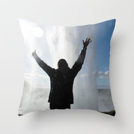 Watercolor People in Nature, Waterfall, Adult 02, Seljandafoss, Iceland Throw Pillow