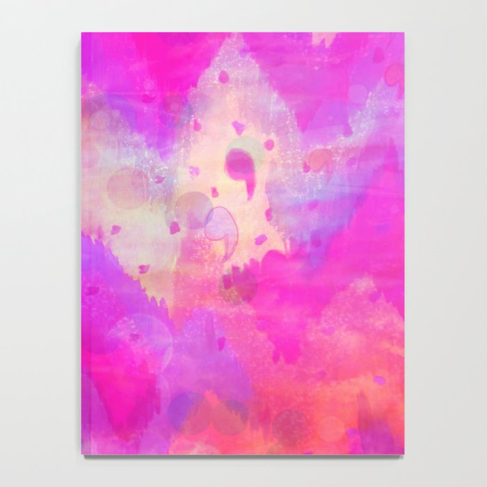 BOLD QUOTATION, Revisited - Intense Raspberry Peachy Pink Vibrant Abstract Watercolor Ikat Pattern Notebook