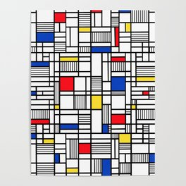 Map Lines Mond Poster