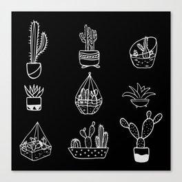 Minimalist Cacti Collection White on Black Canvas Print