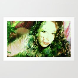 Fairy feather wood nymph ladykashmir painting , Art Print by ladykashmir Art Print