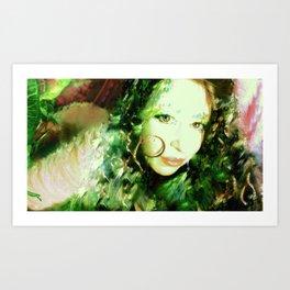 Fairy feather wood nymph ladykashmir painting , Art Print by ladykashmir Art Print