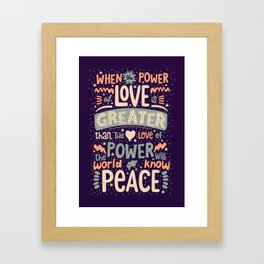 Peace Love Power Typography Quote Framed Art Print