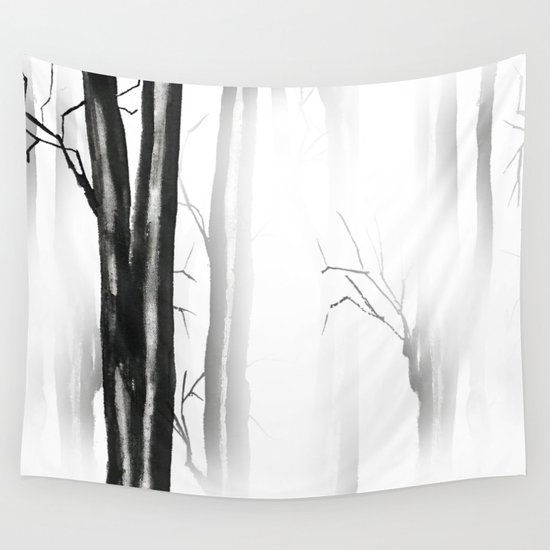 wood, snow and fog Wall Tapestry