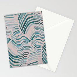 Trippy Turquoise Waves Stationery Cards
