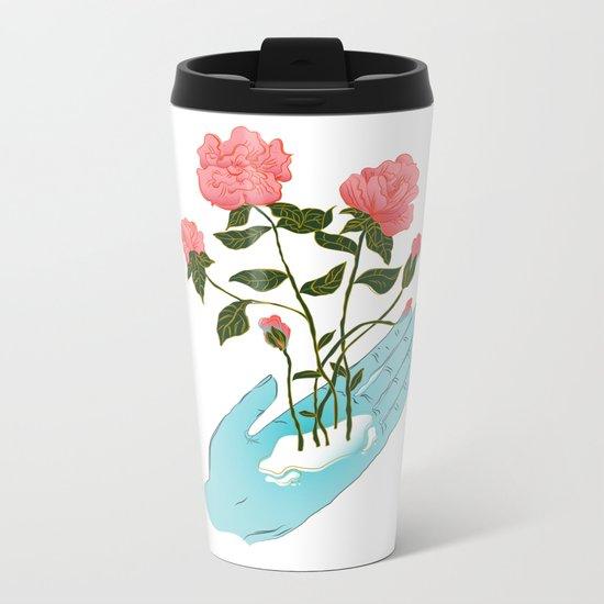 Roses n' Hand Metal Travel Mug