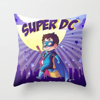 dc comics Throw Pillows featuring Super DC by Sunshunes