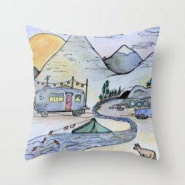 Vintage camping van in the mountains under a full moon- Illustration Throw Pillow