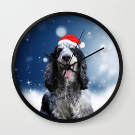 Cute Cocker Spaniel Dog Snow Stars Blue Christmas Wall Clock