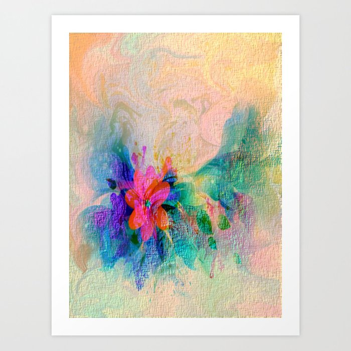 Soft Colorful Pastel Shaded Floral Abstract Art Print
