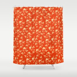 GOLDEN ROSE FLOWERS ON RED Shower Curtain