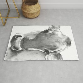 Black and White Cow Painting Rug