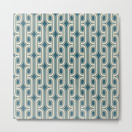 Vintage tangled squares and diamonds pattern teal Metal Print