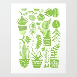 Cactii Textured Print Pattern Art Print