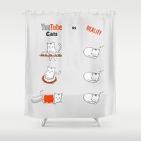 youtube Shower Curtains featuring Youtube Cats vs Reality by The Blue Colibri