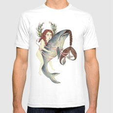Ribbons Whale MEDIUM White Mens Fitted Tee