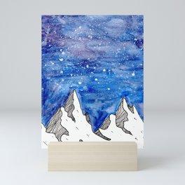 Watercolour mountains Mini Art Print