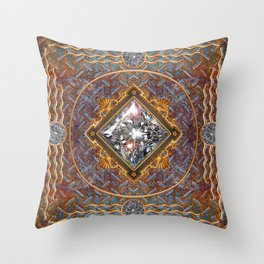 Diamond Cut Steel Throw Pillow