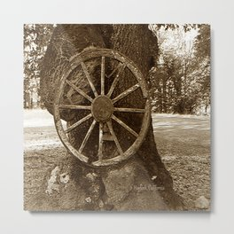 Historical Wagon Wheel Metal Print