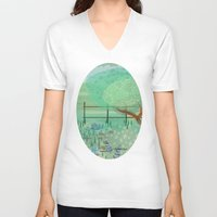 country V-neck T-shirts featuring Country Lane by Alannah Brid
