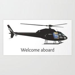 Black Light Helicopter Art Print