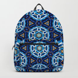 Blue and Gold Beaded Pattern Backpack