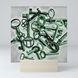 Vintage Skeleton Key Photograph Series Photo 2 – Metallic Green - by Jéanpaul Ferro Mini Art Print