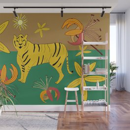 Tiger & Lilies Wall Mural